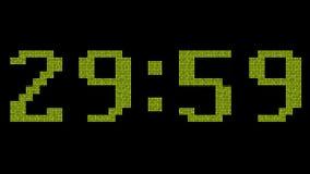 Digital nedräkning från 60 till noll förd skärm Guldnummer stock video