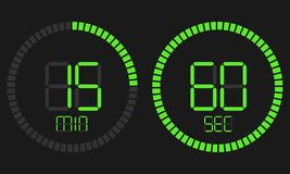 Digital nedräkningtidmätare för stoppur med minut- och sekundvektorskärm Den digitala tidmätaren, elektronisk stoppur med en lutn vektor illustrationer
