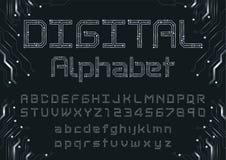 Digital neon font stock illustration