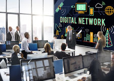 Digital Network Technology Online Connection Concept.  Royalty Free Stock Photos