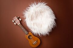 Digital newborn background for baby girls and boys. Brown backdrop and little guitar