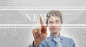 Digital news. Business man reads digital news, technology background Royalty Free Stock Images