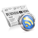 Digital News Concept. With Business Newspaper and RSS Feed Button, vector isolated on white background Stock Images