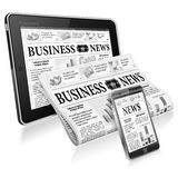 Concept - Digital News. Digital News Concept with Business Newspaper on Screen Smartphone, Tablet PC and Newspapers, vector isolated on white background Royalty Free Stock Image