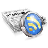Digital News Concept. With Stack Newspapers and  with Stack Newspapers and RSS Feed Button, vector isolated on white background Royalty Free Stock Photography
