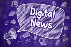Digital News - Hand Drawn Illustration on Blue Chalkboard. Royalty Free Stock Photos