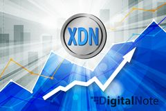 Digital note cryptocurrency in the bright rays on background wit Stock Photos