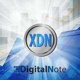 Digital note xdn coin cryptocurrency in bright rays with statistics chart. Digital note xdn coin cryptocurrency in the bright rays with statistics chart Royalty Free Stock Photo