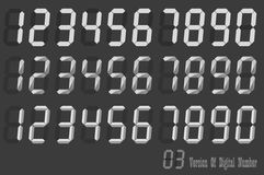 Digital Number italic sets, three version of digital number Royalty Free Stock Photos