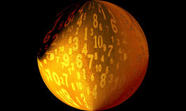 Digital Numbers Ball. A digital image of numbers on a ball generated on a computer royalty free illustration