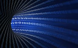 Digital numbers 0 1 panorama. Digital numbers 0 1 3d rendering panorama Stock Illustration