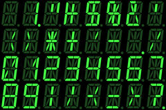 Digital numbers on green alphanumeric LED display Royalty Free Stock Photo