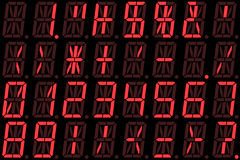 Digital numbers on red alphanumeric LED display Royalty Free Stock Image