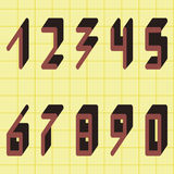 Digital Numbers from 0 to 9, Vector Set Stock Photography