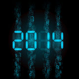 Digital 2014 numerals. New Year 2014: blue digital numerals on black royalty free illustration