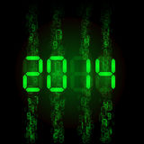 Digital 2014 numerals. New Year 2014: green digital numerals on black vector illustration