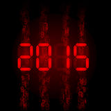 Digital 2015 numerals. New Year 2015: red digital numerals on black Stock Image