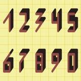 Digital nummer från 0 till 9, vektoruppsättning vektor illustrationer