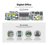 Digital office flat line web graphics. One page web design template with thin line icons of digital office, project management service, business solution Royalty Free Stock Photography