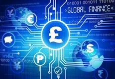 Digital olika globala valutasymboler Royaltyfri Fotografi