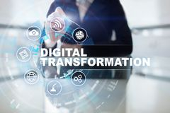 Digital omformning, begrepp av digitization av aff?rsprocessar och modern teknologi stock illustrationer