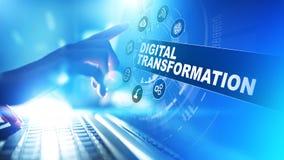 Digital omformning, söndring, innovation Affär och modernt teknologibegrepp arkivfoto