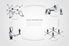 Digital omformning, teknologi, kommunikation, nätverkande, databegrepp royaltyfri illustrationer