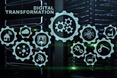Digital omformningsbegrepp av digitalization av teknologiaffärsprocessar Datacenter bakgrund arkivbilder