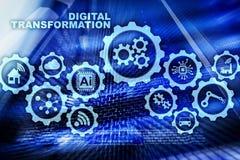 Digital omformningsbegrepp av digitalization av teknologiaffärsprocessar Datacenter bakgrund royaltyfri illustrationer