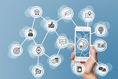 Digital online marketing enabled by mobile phone and social media Stock Images