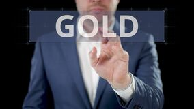 Businessman chooses SILVER, GOLD and PLATINUM digital options on the modern touchscreen display