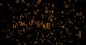 Digital orbit animation seamless loop with golden letters on black background