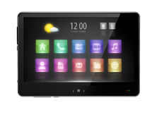 Digital pad with multimedia icons Royalty Free Stock Photography