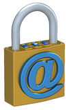 Digital Padlock. 3D illustration of a padlock, isolated on white Royalty Free Stock Photos