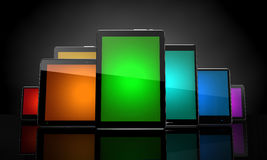 Digital pads with colorful touchscreens Stock Photo