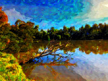 Digital paint strokes image of the lake in Birdsland reserve Stock Image