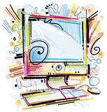Digital painted personal Computer. On white Background Stock Images