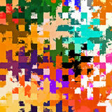 Digital Painting Beautiful Abstract Colorful Chaotic Rectangular Jigsaw Puzzles Pattern Background. Abstract Rectangular Jigsaw Puzzles Pattern in Multi-Colors Stock Photos