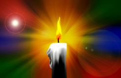 Digital Painting of a Burning Candle. A digital painting of a burning candle on a multicolored colorful background with lens flare Royalty Free Stock Photography