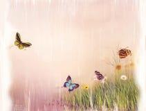 Butterflies on a field painting. Digital Painting of Butterflies on a field Stock Images