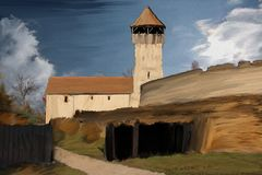 Painting of Calnic medieval castle in Romania. Digital painting of Calnic Medieval Castle in Transylvania, Alba, Romania, a tourist attraction listed on UNESCO`s Royalty Free Stock Image