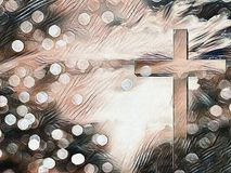 Cross. Digital painting. Christian cross. Bokeh Royalty Free Stock Images