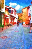 A digital painting of cobbled back streets of Kaleici in Antalya Turkey Royalty Free Stock Photo