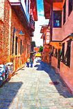 A digital painting of cobbled back streets of Kaleici in Antalya Turkey Royalty Free Stock Photos