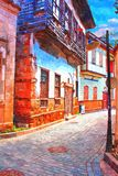 A digital painting of cobbled back streets of Kaleici in Antalya Turkey Stock Photos