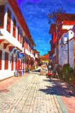 A digital painting of cobbled back streets of Kaleici in Antalya Turkey Stock Image