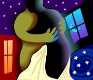Digital painting of a couple hugging each other Royalty Free Stock Image