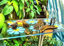 Drawing watercolor. Butterflies. Digital painting. Drawing watercolor. Butterflies sit on fruits that lie on the glass table royalty free stock images