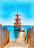 Digital painting. Drawing watercolor. Seascape, sea, ship. Digital painting. Drawing watercolor. Seascape, sea, pleasure ship. Sailing yacht stands at the pier royalty free stock photo