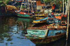 Digital painting of fishing boat on canal in Thailand. Oil color style Stock Images